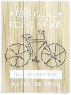 Wooden Bicycle String Art Wall Plaque Push Bike Decoration 40cm x 30cm ~ Life Is Like Riding A Bike