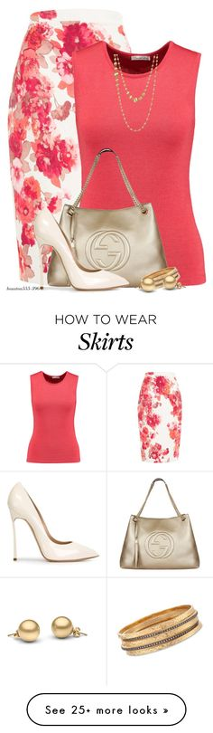 """Floral Pencil Skirt"" by houston555-396 on Polyvore featuring Damsel in a Dress, Oscar de la Renta, Gucci, Casadei, Ross-Simons and Marco Bicego"