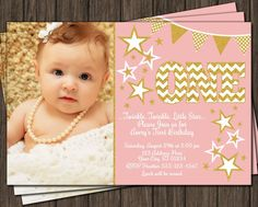 Printable Twinkle Twinkle Little Star Birthday Invitation that will be personalized and emailed to you within 24-48 hours of purchasing. Affordable