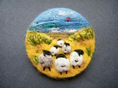 Unique Hand Made Needle Felted Brooch - 'To the Sea'  by Tracey Dunn sheep outing to the seaside design