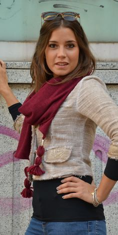 Emma shawl in a fantastic bordeaux color...follow us on our blog and fun to wear our accessories!! #marinafinzi #madeinitaly  #monza