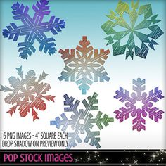 Watercolor Snowflakes Assorted Colors - Blendable - Page Element Blender - Digital Stamp - Digital Overlay - Snowflake Overlay - Holidays