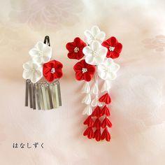 ハンドメイドマーケット+minne(ミンネ) +七五三髪飾り(紅白梅) 正絹羽二重 2点セット Kanzashi Flowers, Minne, Beautiful