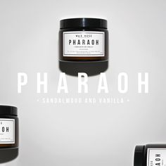 "Wax Muse Co - Pharaoh Candle   ""Introducing PHARAOH - Sandalwood and Vanilla.  Classic and sophisticated. A soft aroma of smooth woody notes; sandalwood, amber and orchid jasmine,…"""