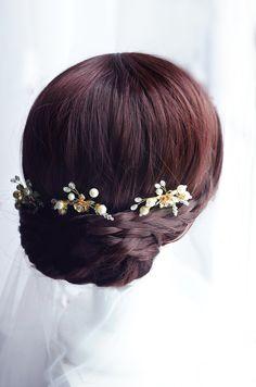 pearl and crystal hair pins, gold or silver hair pin, bridal hair pin от TopGracia