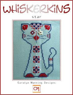 Introducing Star, the July addition to the Whiskerkins Collection.  Our new little friend stitches at 55w x 72h on 14ct. light blue aida (Wichelt Imports) using DMC six strand cotton floss. Star button for eye included! Available now on the website. Be sure and check out the other new designs and specials, too!