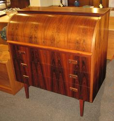 Just in! This amazing rare Mid-Century modern rosewood roll top desk just $1249.00!#mcm #rosewood #yyj SOLD!!