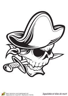 A colorier, une tête de mort pirate avec un chapeau et un sabre entre les dents