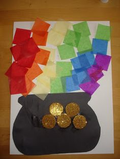 This St. Patrick's Day tissue paper pot of gold craft is absolutely fabulous. So simple and effective. Tissue paper squares, a black pape...