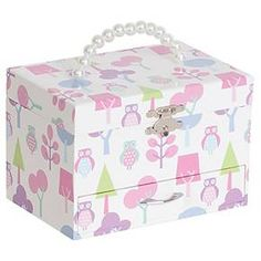 Perfect for the little lady in your life, this Mele & Co. Molly Girls' Musical Ballerina Fairy and Flowers Jewelry Box with Owl Pattern in Pink is a must. Featuring an adorable owl print, musical ballerina, and enough space for her treasures, she'll adore this jewelry box.