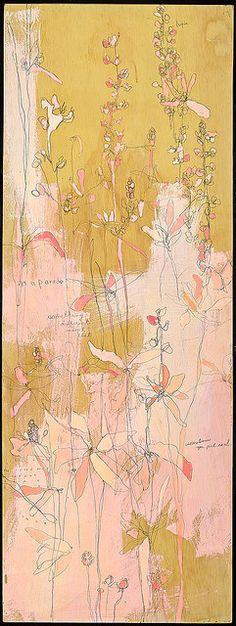 "Jennifer Mercede ""likin loopin"" Acrylic, ball point pen, watercolor crayon on panel"""
