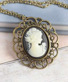 Cameo Cameo Necklace Victorian Black Cameo Long by LimonBijoux,
