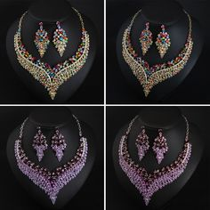 Luxury Prom Wedding Bridal Crystal Rhinestone Necklace Earrings Jewelry Set Gift | eBay Rhinestone Necklace, Crystal Rhinestone, Costume Jewelry Sets, Jewelry Watches, Fashion Jewelry, Prom, Bridal, Crystals, Luxury