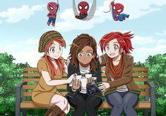 No photo description available. Marvel Films, Marvel Funny, Marvel Dc Comics, Marvel Heroes, Marvel Avengers, Spiderman Black Cat, Spiderman Girl, Amazing Spiderman, Spiderman Anime