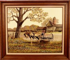 "1982 H. Hargrove ""Windrowing"" Oil on Canvas Serigraph 20"" x 24"" Framed"