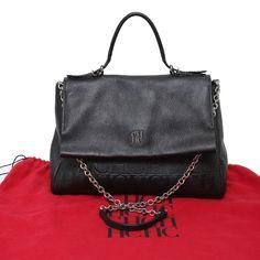 Auth Carolina Herrera Black Grain Leather CH Embossed Flap Minuetto  Shoulder Bag  CarolinaHerrera  ShoulderBag 3459498e562f1