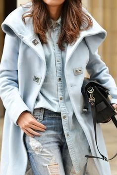 I like this double denim look with this pastel coat. It's the chic, grown-up way to do daily denim....x