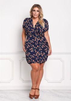 Plus Size Clothing | Plus Size Floral Surplice Deep V Dress | Debshops