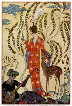 1910s, 1912, belle epoque, covers or posters, deer, fawn, george barbier, georges barbier, late edwardian, orange, orientalism, persia, the art of perfume, willow tree