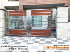 Stainless Steel Gate House Main Door Design, Home Gate Design, Grill Door Design, Front Gate Design, Stainless Steel Stair Railing, Stainless Steel Gate, Modern Main Gate Designs, Steel Railing Design, Front Gates
