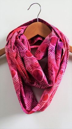 Pink Circles Infinity Scarf Abstract 8.5 Wide 72