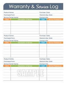 Warranty and Service Log - Printable and Editable Organizing PDF, Household Management, Household Binder Emergency Binder, Emergency Planning, Service Maintenance, Life Binder, Household Binder, Binder Organization, Printable Organization, Financial Organization, Organizing Life