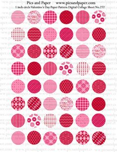 Valentine's Day 1 inch circle paper pattern circle Digital Collage NO.272 for Bottle caps, pendants, magnets, Buy 2 get 1 Free