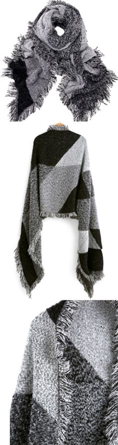 Color-block grey tweed scarf on sale .Chic & fasion with a long coat and knee boots.