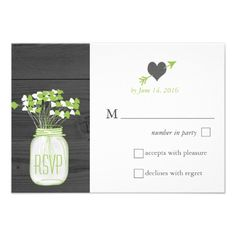 Country Rustic Mason Jar Woodgrain Wedding RSVP Personalized Invitations