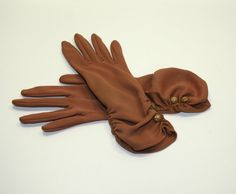1950's Brown pair of Vintage Gloves size 6.5  Over by WarmNature, $10.00