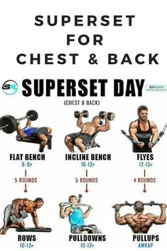 Superset exercises for chest and back Back Superset Workout, Back Workout Men, Plyo Workouts, Chest And Back Workout, Chest Workout Routine, Gym Workouts For Men, Muscle Building Workouts, Plank Workout, Biceps Workout
