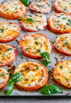 angled shot of baked tomatoes with cheese and basil