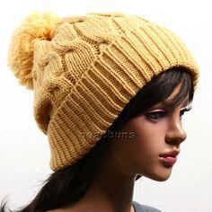 Unisex Pompom Beanie Knit Winter Hat Cap Ski LSK Yellow | eBay