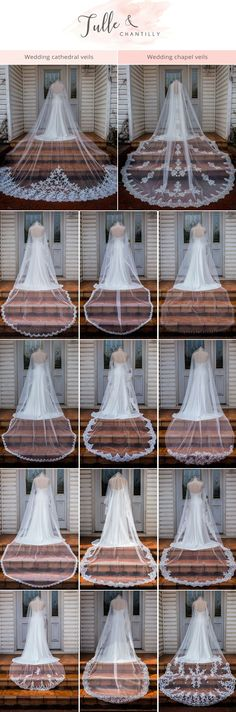 BOHO Bride chapel wedding veils cathedral wedding veils bridal accessories Spanish Veils ivory Lace Flower along full edge
