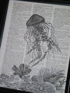Sea Life Art Print Ocean Art Print Dictionary Art Print Jelly Fish Art Print Upcycled Wall Art A HHP Original Design 8 x 10. $8.00, via Etsy.