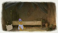 Looks like my poor bear rolled out of bed and has no idea where he is :( Good Animated Movies, Cool Animations, Pooh Bear, Disney Love, Disney Pixar, Comic Strips, Cartoon Characters, Winnie The Pooh, Cute
