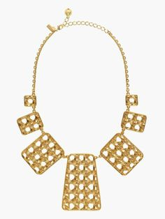 KATE SPADE NEW YORK MADISON AVE. COLLECTION ISLAND WICKER PLATE STATEMENT NECKLACE