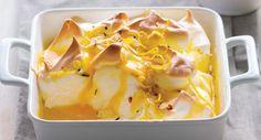Receita de Pinha dourada com creme de limão e amêndoa tostada, Para 4 unidades. Tempo: Longo, Dificuldade: Fácil, Custo: Médio