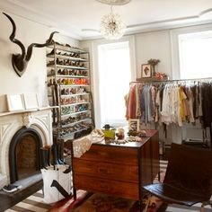 If you have the luxury of a spare room, turn it into an elegant dressing room and use open shelving and rails so that everything is on show ...