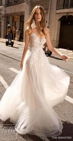 more gorgeous wedding dresses by clicking on the photo Tom Sebastien Wedding Dresses 2019 - Lisbon Bridal Collection. Backless lace flowy a-line wedding dress with lace sleeveless bodice and tulle skirt Country Wedding Dresses, Princess Wedding Dresses, Dream Wedding Dresses, Bridal Dresses, Wedding Dresses Slim Fit, Bridesmaid Dresses, Petite Bride Wedding Dress, Modern Wedding Dresses, Wedding Gowns