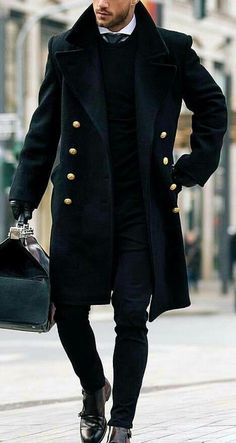 Fashion Men's British Style Solid Color Coats – Men's style, accessories, mens fashion trends 2020 Tall Men Fashion, Best Mens Fashion, Fashion Mode, Mens Fashion Suits, Mens Autumn Fashion, Fashion Boots, Winter Fashion, Mens Winter Coat, Mens Fall