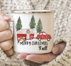 Merry Christmas Y'All Vintage Camper Personalized Coffee Mug - Christmas Camping Coffee Tumbler - Vintage Camper Christmas Coffee Travel Mug by swiftcreekgifts on Etsy
