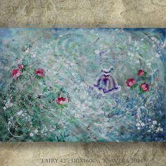 "BEDROOM DECOR shabby chic painting ballerina birthday abstract Large wall art ""Fairy 42"" rose on canvas KSAVERA girl dance teal blue green"
