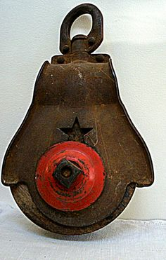 Vintage Industrial Pulley Red Star Wood With Cast by VintageBroad, $27.00