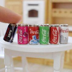 Mini Coke Bottle Set of 3Coca-Cola Miniature Miniature dollhouse 1:6