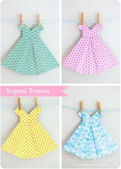 origami kağıttan elbise yapımı