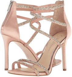Rhinestone Ornamented Dress 'Jamalee' Sandals in Nude Fancy Shoes, Pretty Shoes, Cute Shoes, Stiletto Heels, Shoes Heels, Heeled Sandals, Dress Sandals, Homecoming Shoes, Prom Heels