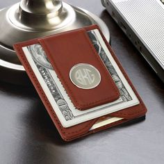 Personalized Wallet with Money Clip on Etsy, $39.99