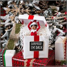 Christmas Fun for Parents & Kids: 5 Super Simple Return Ideas for Elves - The Elf on the Shelf Xmas Elf, Noel Christmas, All Things Christmas, Funny Christmas, Christmas Ideas For Kids, Elf Christmas Decorations, Christmas Countdown, First Christmas, Christmas Gifts