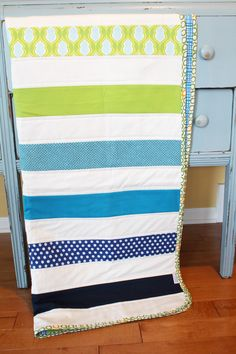 Modern Baby QUILT by PETUNIAS  navy turquoise lime by PETUNIAS, $89.00